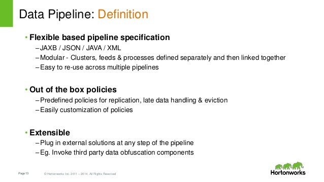 Page13 © Hortonworks Inc. 2011 – 2014. All Rights Reserved Data Pipeline: Definition • Flexible based pipeline specificati...