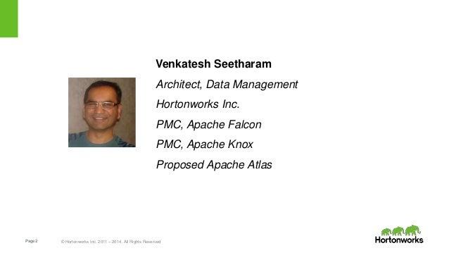 Page2 © Hortonworks Inc. 2011 – 2014. All Rights Reserved Venkatesh Seetharam Architect, Data Management Hortonworks Inc. ...