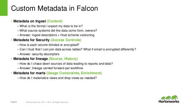 Page22 © Hortonworks Inc. 2011 – 2014. All Rights Reserved Custom Metadata in Falcon • Metadata on Ingest (Content) – What...