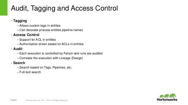 Page25 © Hortonworks Inc. 2011 – 2014. All Rights Reserved Audit, Tagging and Access Control • Tagging – Allows custom tag...