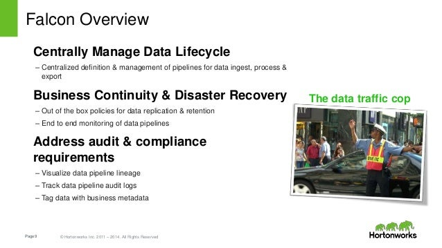 Page9 © Hortonworks Inc. 2011 – 2014. All Rights Reserved Falcon Overview Centrally Manage Data Lifecycle – Centralized de...