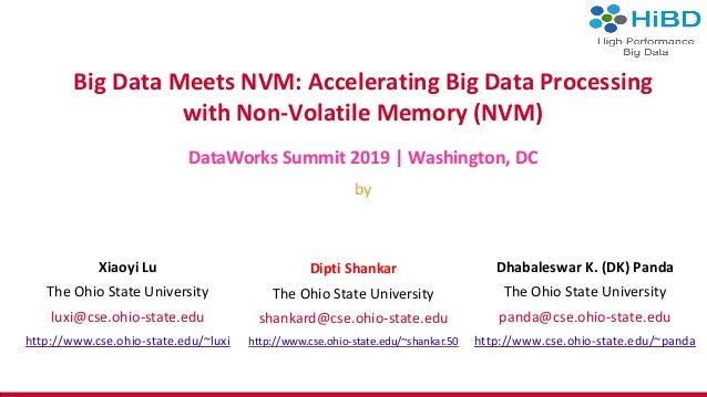 Big Data Meets NVM: Accelerating Big Data Processing with Non-Volatile Memory (NVM) DataWorks Summit 2019 | Washington, DC...