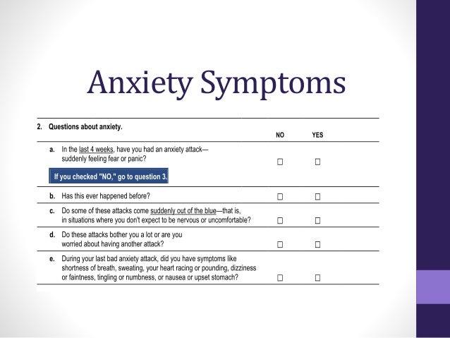 Anxiety screeners