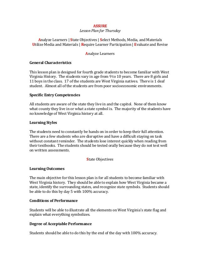 ASSURELesson Plan for ThursdayAnalyze Learners   State Objectives   Select Methods, Media, and MaterialsUtilize Media and ...