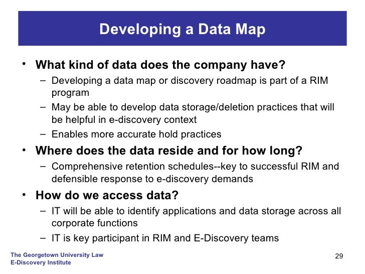 EDI Controlling EDiscovery Costs Through Records Management - Ediscovery data map