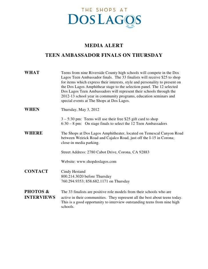 MEDIA ALERT        TEEN AMBASSADOR FINALS ON THURSDAYWHAT         Teens from nine Riverside County high schools will compe...
