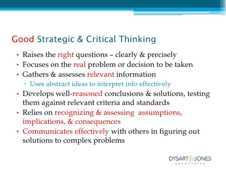 critical thinking and strategic thinking
