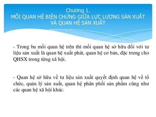 Chương 1. MỐI QUAN HỆ BIỆN CHỨNG GIỮA LỰC LƯỢNG SẢN XUẤT VÀ QUAN HỆ SẢN XUẤT - Trong ba mối quan hệ trên thì mối quan hệ s...