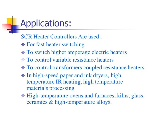 Thyristor controllers and solid state relay concept amp applicat