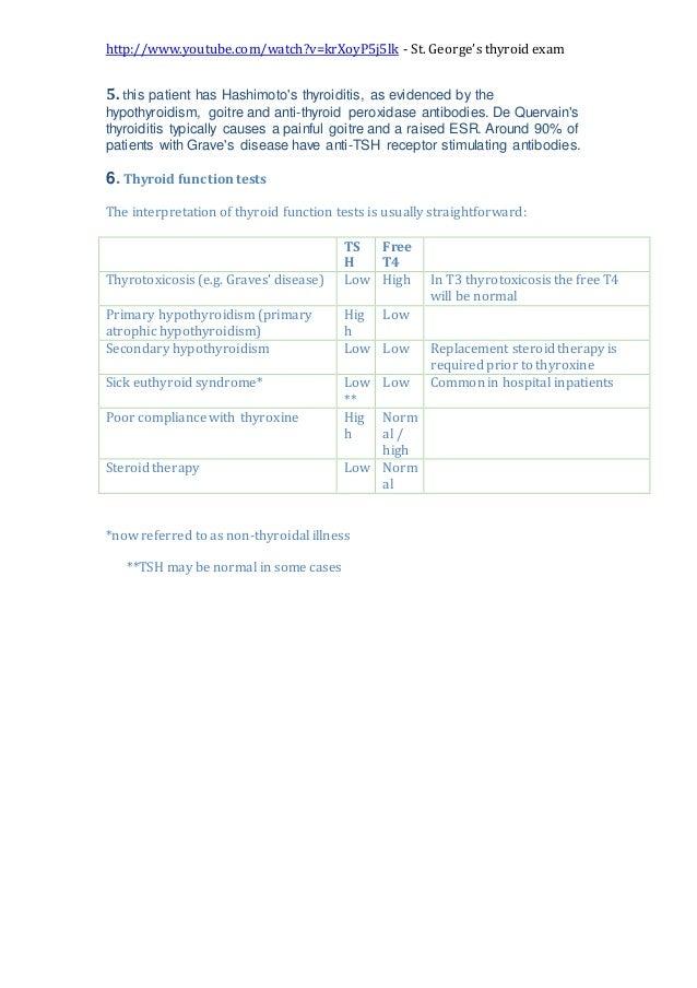 http://www.youtube.com/watch?v=krXoyP5j5lk - St. George's thyroid exam 5. this patient has Hashimoto's thyroiditis, as evi...