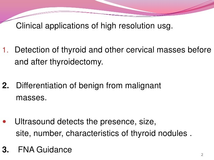 Clinical applications of high resolution usg. <br />Detection of thyroid and other cervical masses before <br />and ...