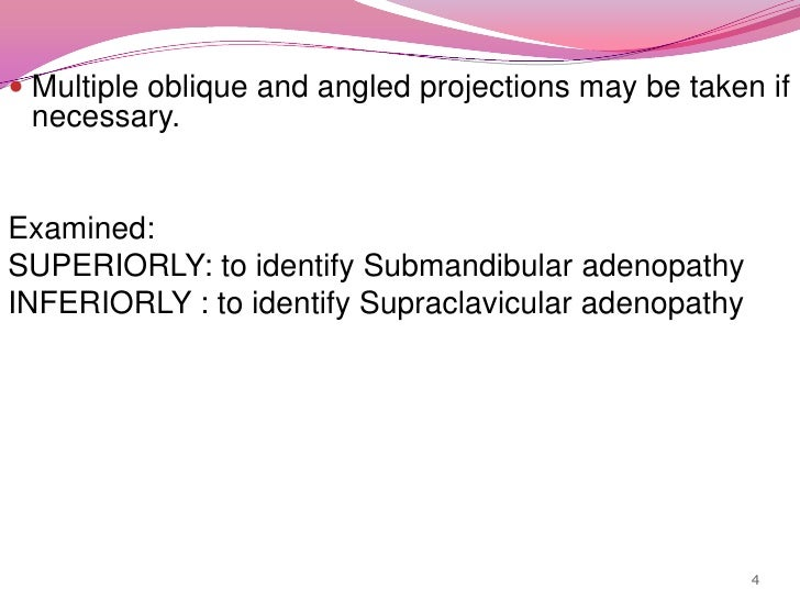 Multiple oblique and angled projections may be taken if necessary.<br />Examined: <br />SUPERIORLY: to identify Submandibu...