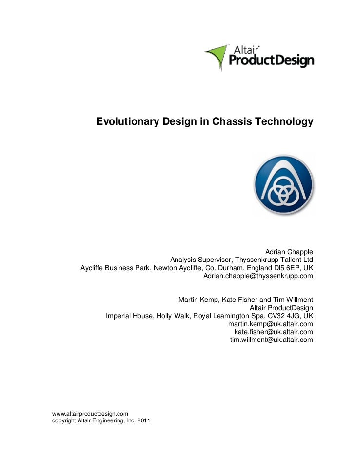 Evolutionary Design in Chassis Technology                                                                     Adrian Chapp...