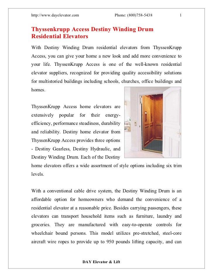 http://www.dayelevator.com                     Phone: (800)758-5438         1Thyssenkrupp Access Destiny Winding DrumResid...