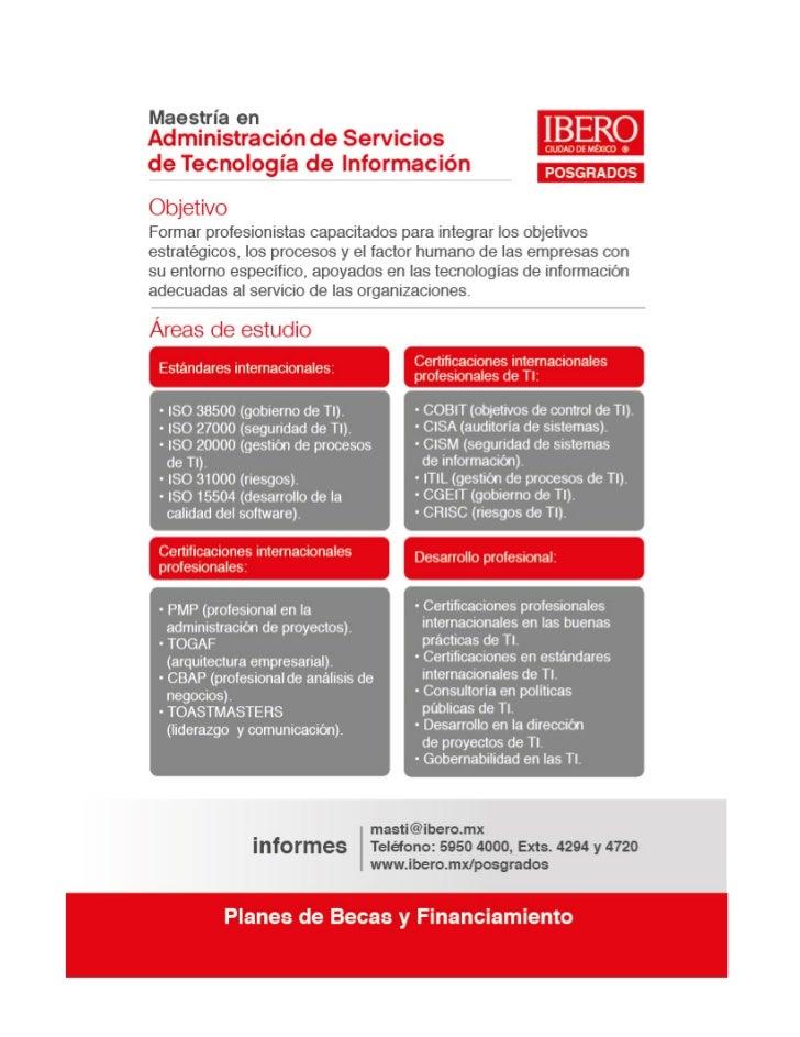 Maestría en Administración de Servicios de Tecnología de la Información Slide 2
