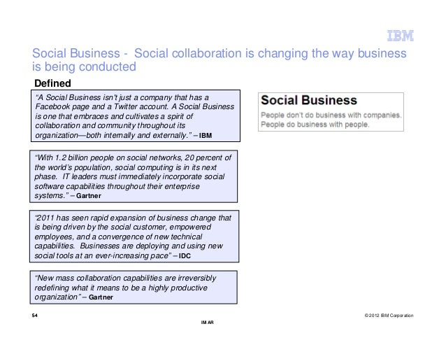"""Social Business - Social collaboration is changing the way businessis being conductedDefined """"A Social Business isnt just ..."""
