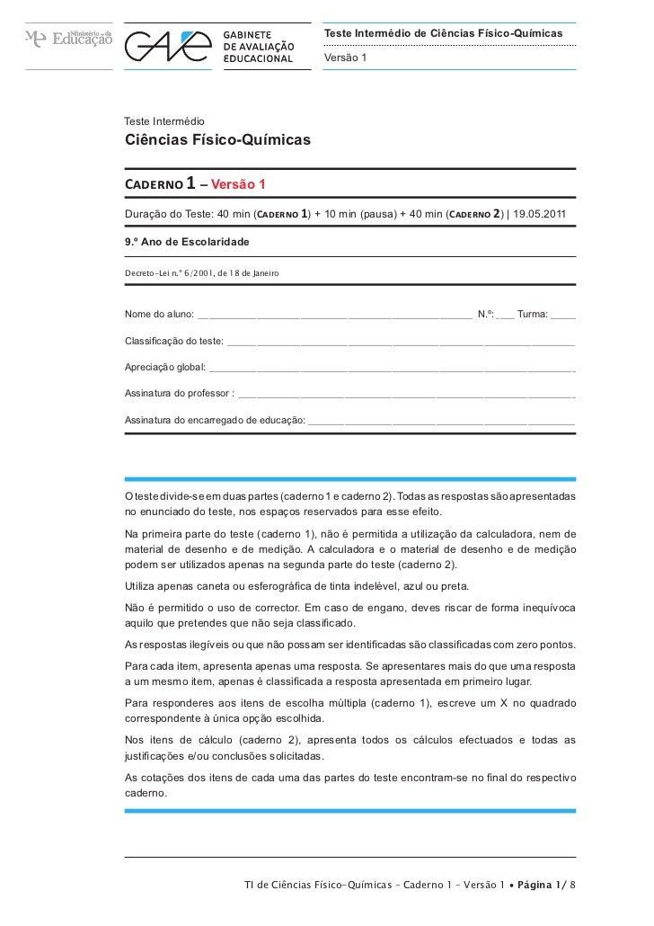 Teste Intermédio de Ciências Físico-Químicas                                                    Versão 1Teste IntermédioCi...