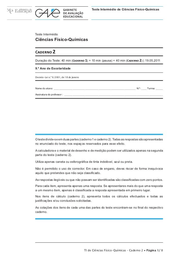 Teste Intermédio de Ciências Físico-QuímicasTeste IntermédioCiências Físico-QuímicasCaderno 2Duração do Teste: 40 min (Cad...