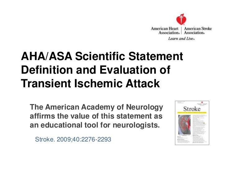 Definition and Evaluation of Transient Ischemic Attack