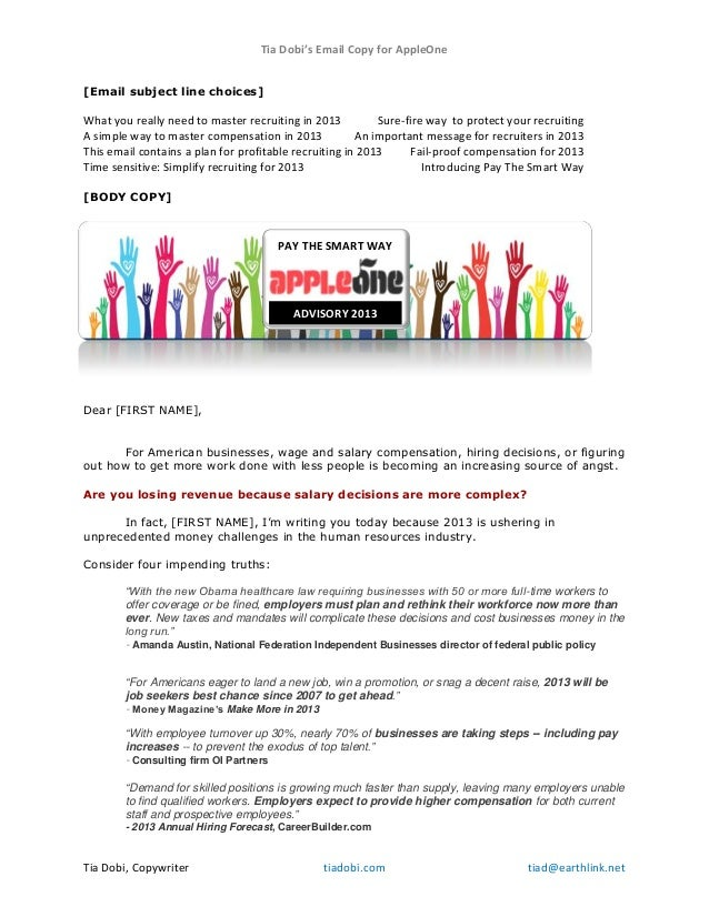 Tia Dobi's Email Copy for AppleOne Tia Dobi, Copywriter tiadobi.com tiad@earthlink.net [Email subject line choices] What y...
