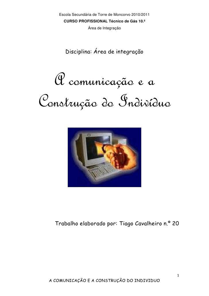 Escola Secundária de Torre de Moncorvo 2010/2011      CURSO PROFISSIONAL Técnico de Gás 10.º                   Área de Int...