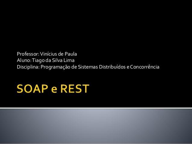 Professor:Vinícius de Paula Aluno:Tiago da Silva Lima Disciplina: Programação de Sistemas Distribuídos e Concorrência
