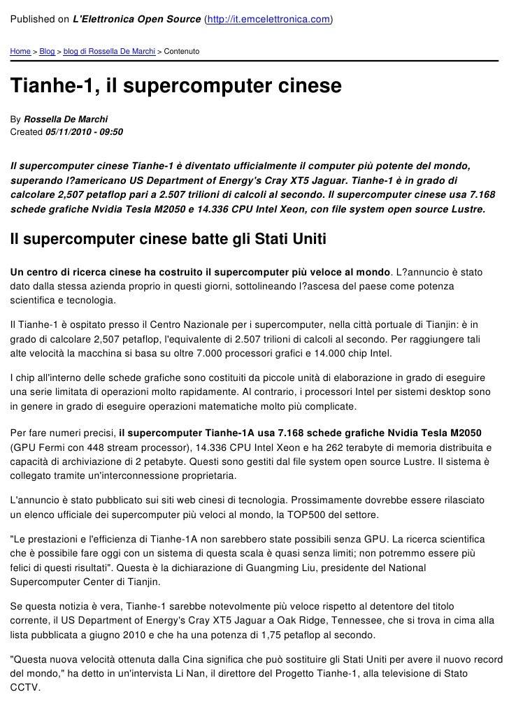 Published on LElettronica Open Source (http://it.emcelettronica.com)Home > Blog > blog di Rossella De Marchi > ContenutoTi...
