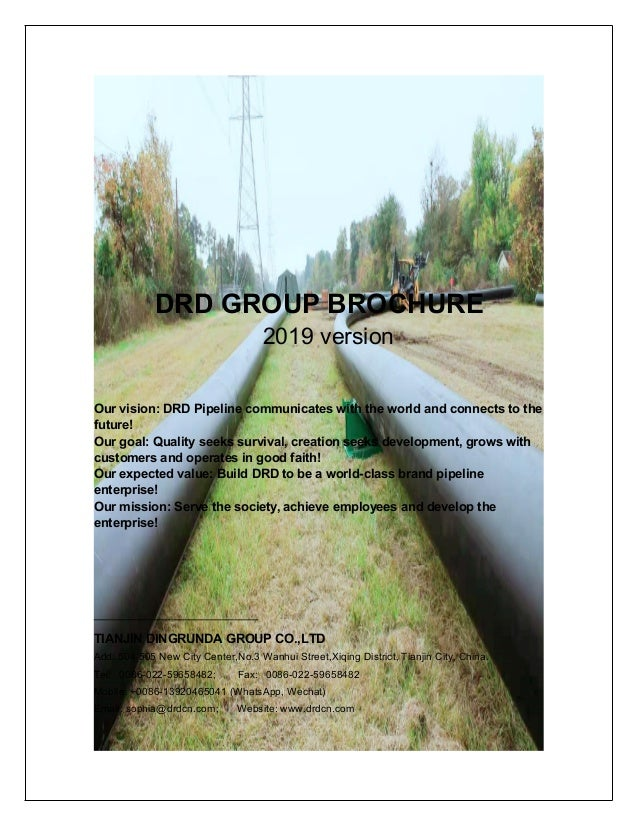 DRD GROUP BROCHURE 2019 version Our vision: DRD Pipeline communicates with the world and connects to the future! Our goal:...