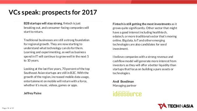 Page 18 of 31 B2B startups will stay strong, fintech is just breaking out, and consumer-facing companies will start to ret...