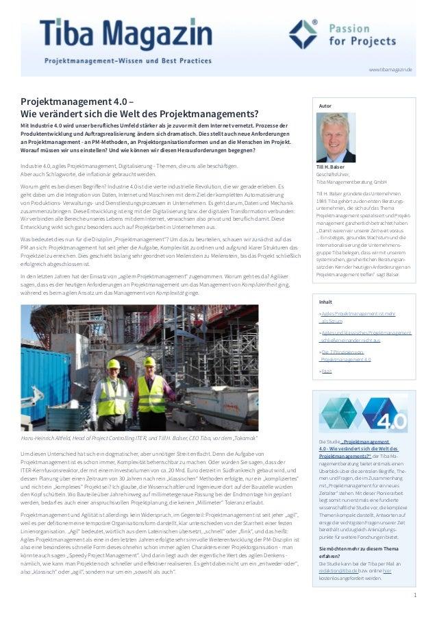 1 www.tibamagazin.de Till H. Balser Geschäftsführer, Tiba Managementberatung GmbH Till H. Balser gründete das Unternehmen ...
