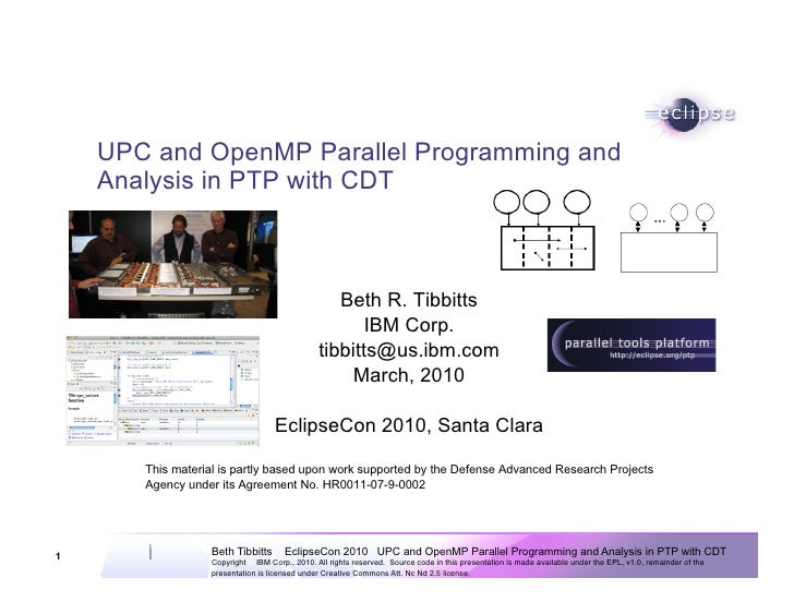 UPC and OpenMP Parallel Programming and     Analysis in PTP with CDT                                                      ...