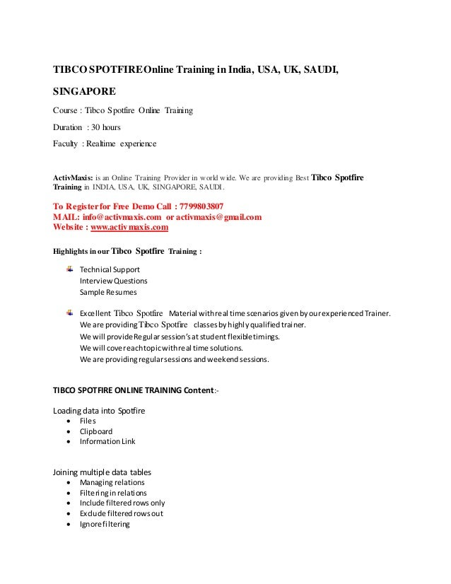 Tibco Spotfire Training | +91-7799803807 | Activmaxis