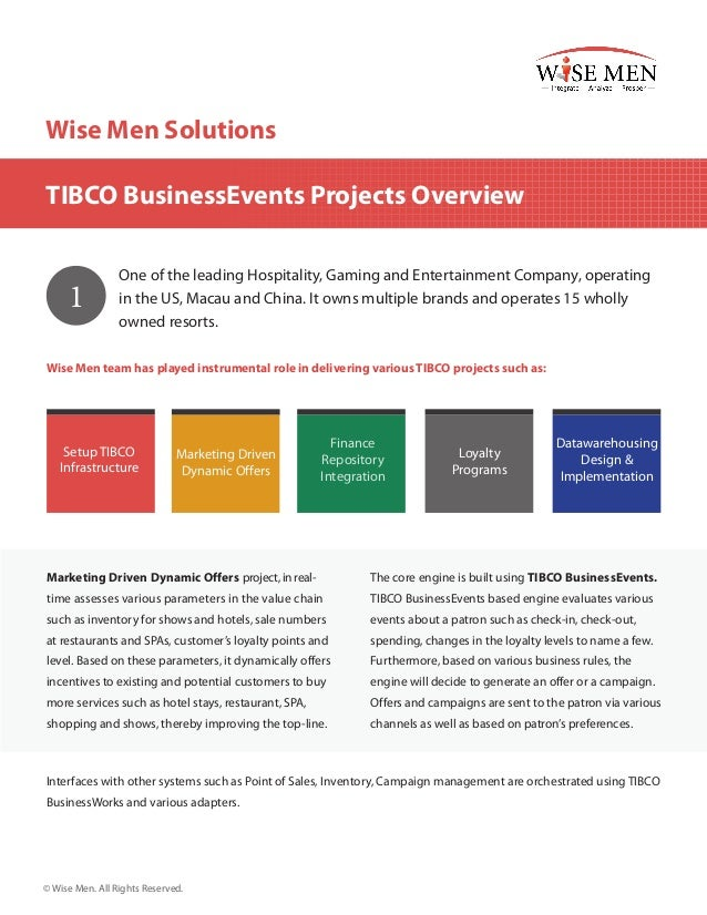 Wise Men Solutions TIBCO BusinessEvents Projects Overview  1  One of the leading Hospitality, Gaming and Entertainment Com...