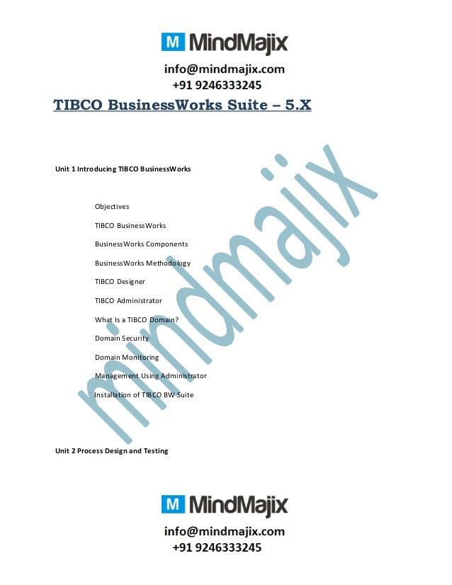 TIBCO BusinessWorks Suite – 5.X Unit 1 Introducing TIBCO BusinessWorks Objectives TIBCO BusinessWorks BusinessWorks Compon...