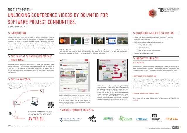 THE TIB AV-PORTAL: UNLOCKING CONFERENCE VIDEOS BY DOI/MFID FOR SOFTWARE PROJECT COMMUNITIES. M. PLANK // P. LÖWE // B. DRE...