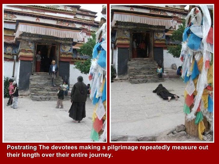 Tibetan pilgrims & prayer wheels Slide 3