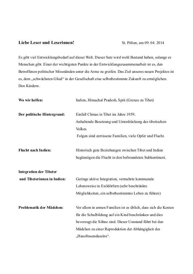 Liebe Leser und Leserinnen! St. Pölten, am 09. 04. 2014 Es gibt viel Entwicklungsbedarf auf dieser Welt. Dieser Satz wird ...