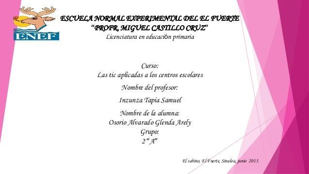 """ESCUELA NORMAL EXPERIMENTAL DEL EL FUERTE """"PROFR. MIGUEL CASTILLO CRUZ"""" Licenciatura en educación primaria Curso: Las tic ..."""