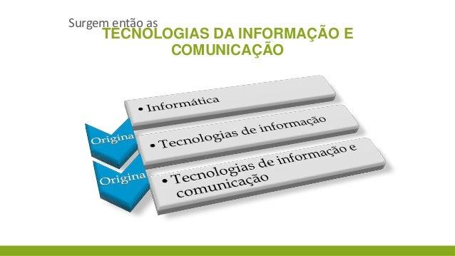 Surgem então as  TECNOLOGIAS DA INFORMAÇÃO E COMUNICAÇÃO