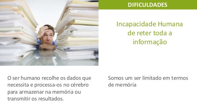 DIFICULDADES  Incapacidade Humana de reter toda a informação  O ser humano recolhe os dados que necessita e processa-os no...