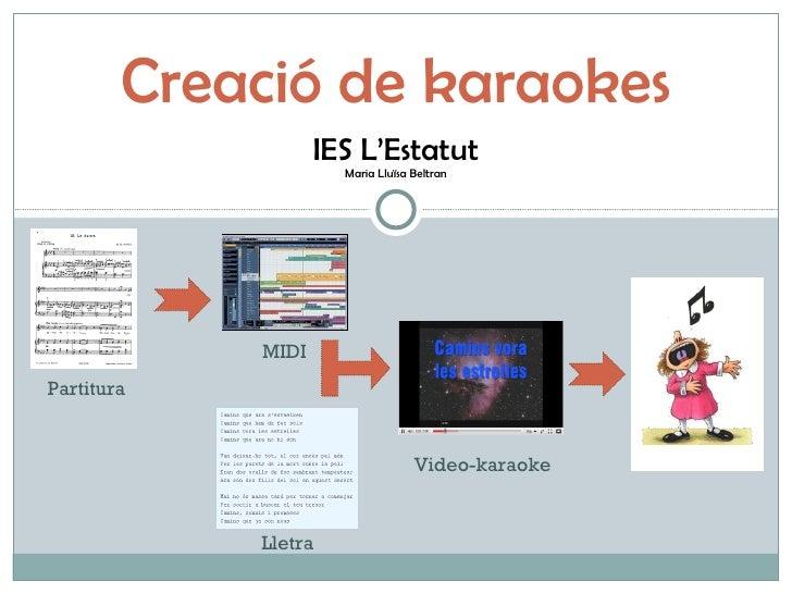 Creació de karaokes IES L'Estatut Maria Lluïsa Beltran Partitura MIDI Video-karaoke Lletra