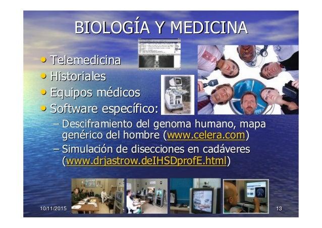 10/11/201510/11/2015 1313 BIOLOGBIOLOGÍÍA Y MEDICINAA Y MEDICINA •• TelemedicinaTelemedicina •• HistorialesHistoriales •• ...