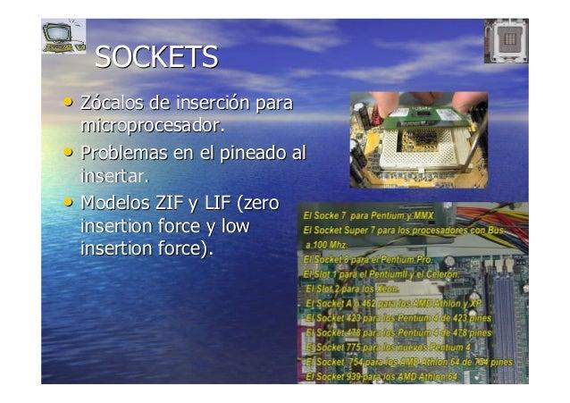 1515 SOCKETSSOCKETS •• ZZóócalos de insercicalos de insercióón paran para microprocesadormicroprocesador.. •• Problemas en...