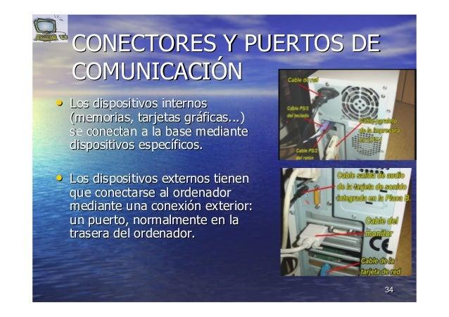 3434 CONECTORES Y PUERTOS DECONECTORES Y PUERTOS DE COMUNICACICOMUNICACIÓÓNN •• Los dispositivos internosLos dispositivos ...