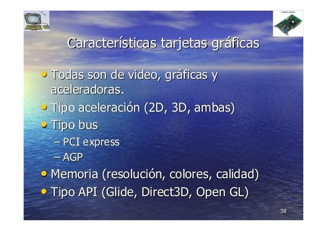 3838 CaracterCaracteríísticassticas tarjetas grtarjetas grááficasficas •• Todas son de video, grTodas son de video, grááfi...