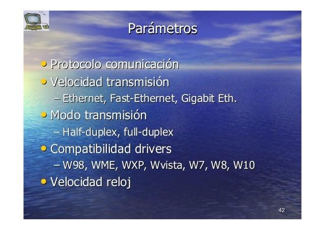 4242 ParParáámetrosmetros •• Protocolo comunicaciProtocolo comunicacióónn •• Velocidad transmisiVelocidad transmisióónn ––...
