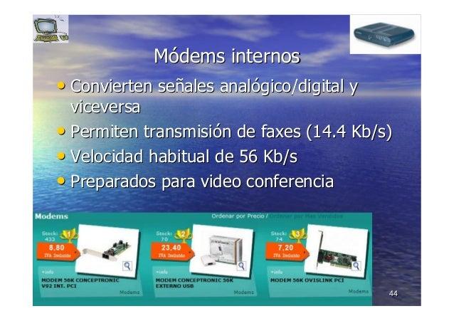 4444 MMóódemsdems internosinternos •• Convierten seConvierten seññales analales analóógico/digital ygico/digital y vicever...