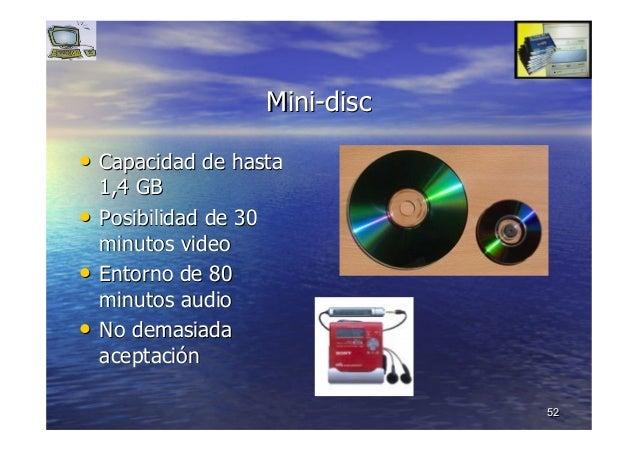 5252 MiniMini--discdisc •• Capacidad de hastaCapacidad de hasta 1,4 GB1,4 GB •• Posibilidad de 30Posibilidad de 30 minutos...