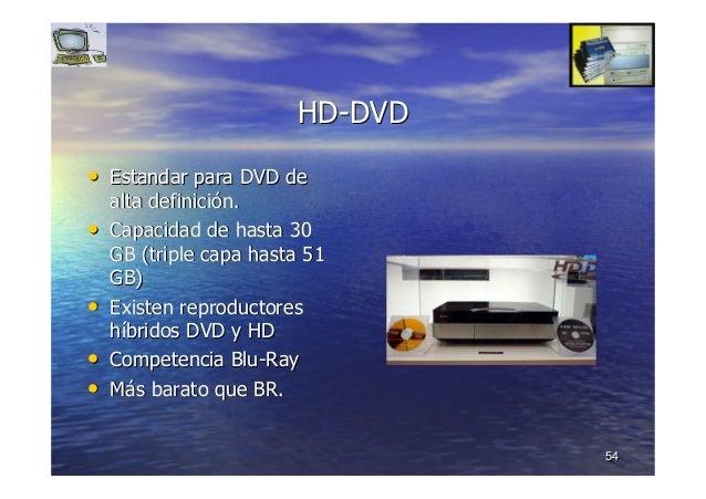 5454 HDHD--DVDDVD •• EstandarEstandar para DVD depara DVD de alta definicialta definicióón.n. •• Capacidad de hasta 30Capa...