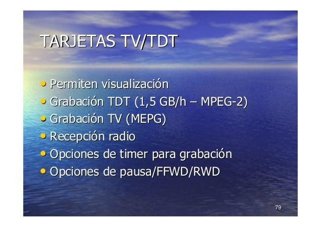 7979 TARJETAS TV/TDTTARJETAS TV/TDT •• Permiten visualizaciPermiten visualizacióónn •• GrabaciGrabacióón TDT (1,5 GB/hn TD...